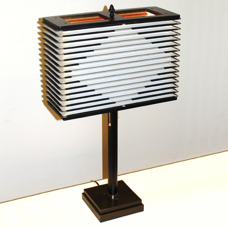Accordion Lamp Features a Black and White Squeeze Box Shade