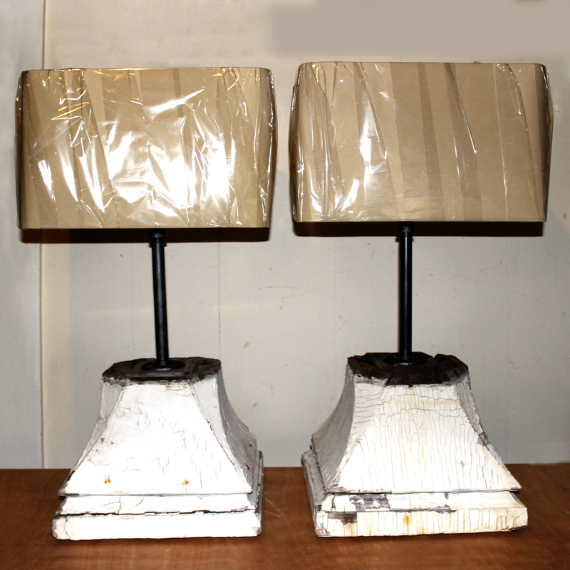 Detail of Recycled Table Lamps from Column Bases