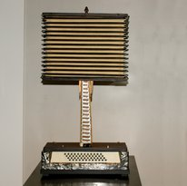 Recycled Accordion Lamp from a Upcycled Carmen Accordion with Squeeze Box Shade