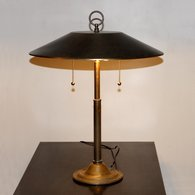 Vintage Brass Desk Lamp with Wide Metal Shade