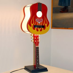 Recycled Musical Instrument Lamp Crafted from a Washburn Acoustic Guitar