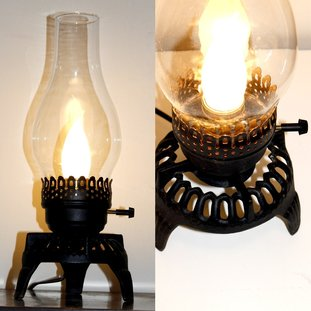 Electrified Cast Iron Candle Holder with Hurricane Shade