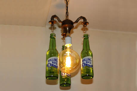 Recycled Beer Bottle Ceiling Light from Victorian Floor Lamp Arms
