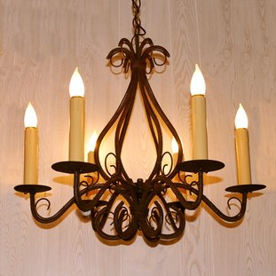 Electrified Iron Candlestick Chandelier