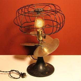Recycled Table Lamp Using a Repurposed Vintage Electric Fan